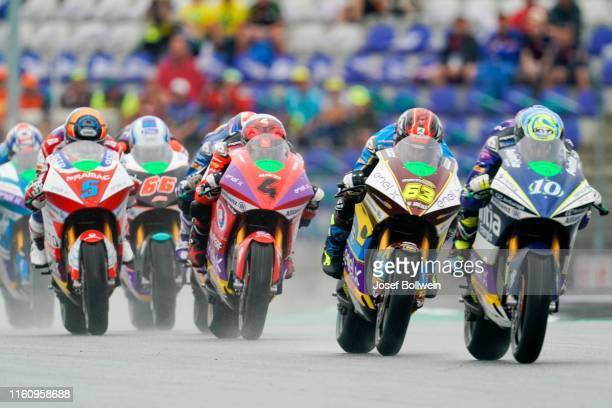 Alex De Angelis of San Marino and Octo Pramac MotorE Hector Garzo of Spain and SPA Tech 3 ERacing and Mike Di Meglio of Italy and EG 0 0 Marco VDS...
