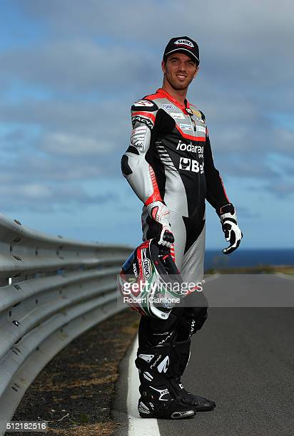 Alex De Angelis of San Marino and rider of the IodaRacing Aprilia poses during previews for round one of the 2016 World Superbike Championship at...