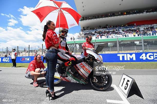 Alex De Angelis of San Marino and Tasca Racing Moto2 prepares to start on the grid during the Moto2 race during the MotoGp of Italy Race at Mugello...