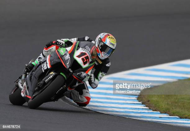 Alex De Angelis of San Marino rides the Pedercini Racing SCProject Kawasaki during practice ahead of round one of the FIM World Superbike...