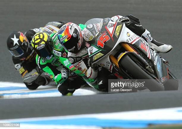 Alex De Angelis of San Marino riding JIR Moto2 rides during the Moto2 during the Australian MotoGP which is round 16 of the MotoGP World Championship...