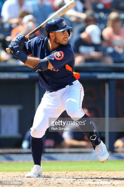 Alex De Goti of the Houston Astros in action during a game against the New York Mets during a spring training baseball game at Fitteam Ballpark of...
