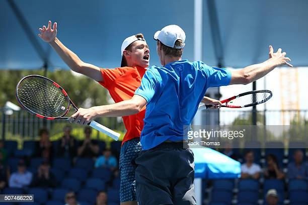 Alex De Minaur and Blake Ellis of Australia celebrate winning their Junior Boys' Doubles Final match against Lukas Klein and Patrik Rikl during the...