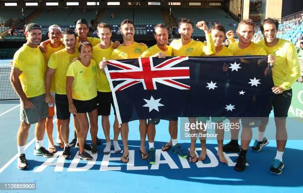 Alex de Minaur John Millman Jordan Thompson John Peers Alexei Popyrin captain Lleyton Hewitt of Australia and their teammates celebrate with the...