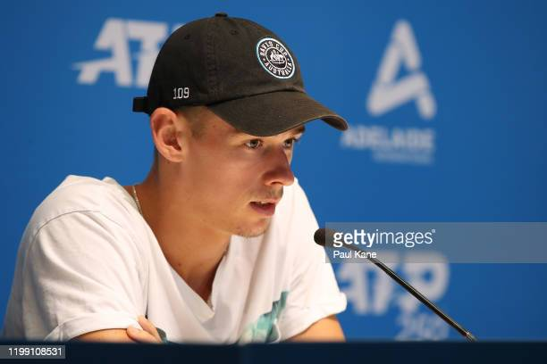 Alex de Minaur of Australia addresses the media during day two of the 2020 Adelaide International at Memorial Drive on January 13 2020 in Adelaide...