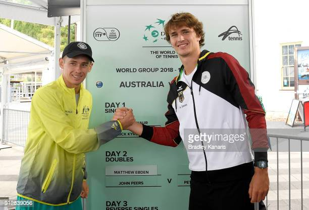 Alex de Minaur of Australia and Alexander Zverev of Germany pose for a photo during the official draw ahead of the Davis Cup World Group First Round...