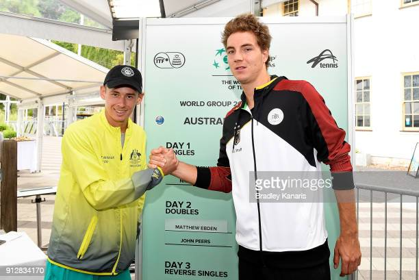 Alex de Minaur of Australia and JanLennard Struff of Germany pose for a photo during the official draw ahead of the Davis Cup World Group First Round...