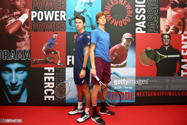 Alex de Minaur of Australia and Jannik Sinner of Italy face off prior to their final match during Day Five of the Next Gen ATP Finals at Allianz...
