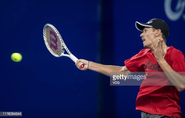Alex de Minaur of Australia attends a training session before 2019 ATP World Tour 250 Zhuhai Championships at Hengqin Tennis Center on September 21...