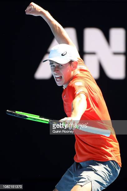 Alex de Minaur of Australia celebrates a point in his first round match against Pedro Sousa of Portugal during day one of the 2019 Australian Open at...