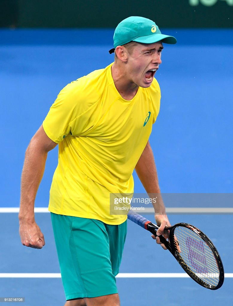 Alex de Minaur of Australia celebrates against Alexander Zverev of Germany during the Davis Cup World Group First Round tie between Australia and Germany at Pat Rafter Arena on February 2, 2018 in Brisbane, Australia.