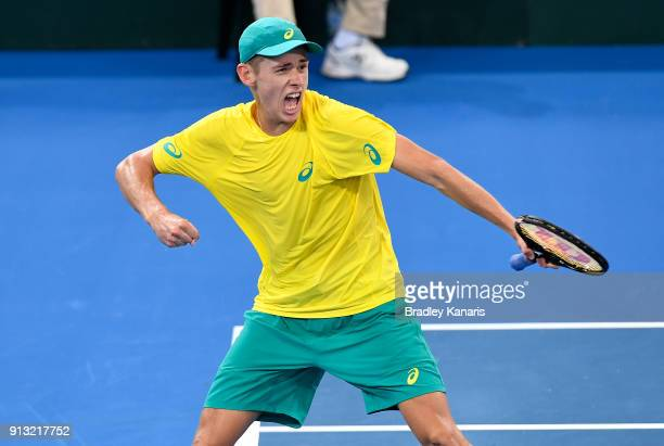 Alex de Minaur of Australia celebrates against Alexander Zverev of Germany during the Davis Cup World Group First Round tie between Australia and...