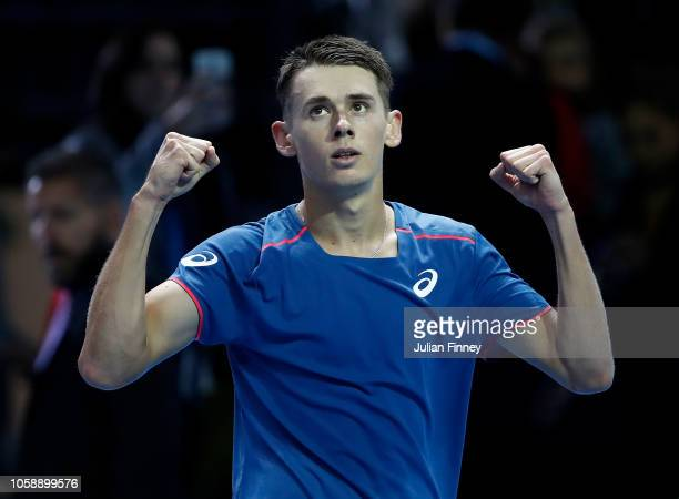 Alex de Minaur of Australia celebrates in his group match against Andrey Rublev of Russia during Day Two of the Next Gen ATP Finals at Fiera Milano...