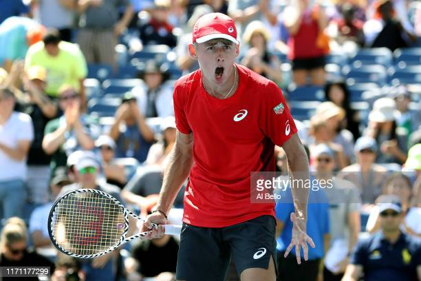 Alex de Minaur of Australia celebrates victory following his Men's Singles third round match against Kei Nishikori of Japan on day five of the 2019...