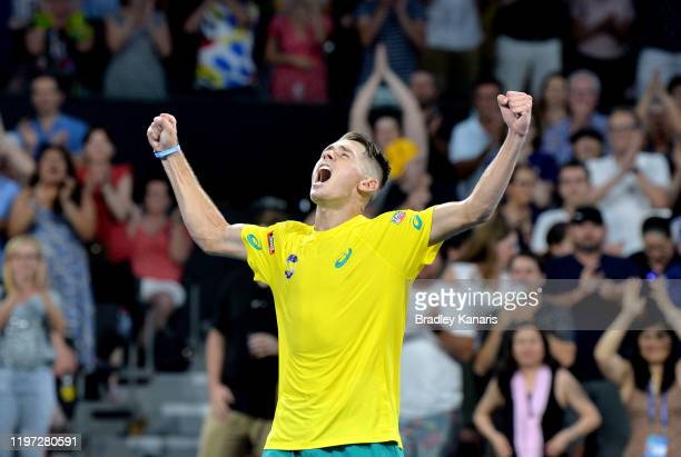 Alex de Minaur of Australia celebrates victory in his match against Alexander Zverev of Germany during day one of the 2020 ATP Cup Group Stage at Pat...