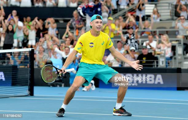 Alex de Minaur of Australia celebrates victory in his match against Denis Shapovalov of Canada during day three of the 2020 ATP Cup Group Stage at...