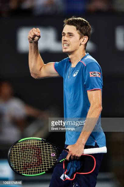 Alex De Minaur of Australia celebrates victory in his Mens Final match against Andreas Seppi of Italy during day seven of the 2019 Sydney...