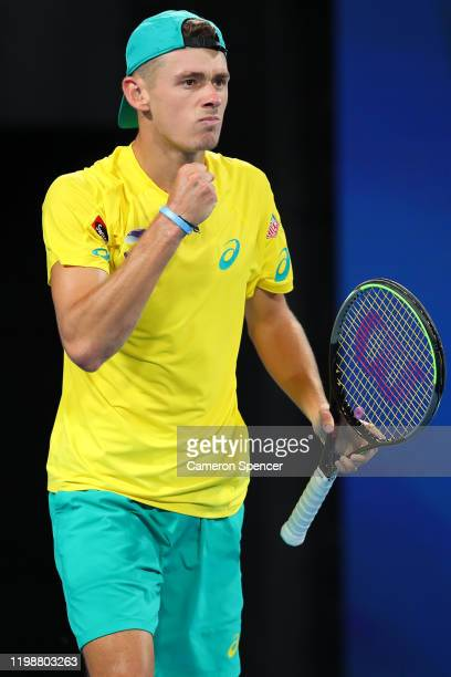Alex de Minaur of Australia celebrates winning a point during his semifinal singles match against Rafael Nadal of Spain on day nine of the 2020 ATP...