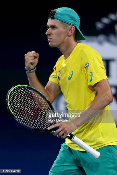 Alex de Minaur of Australia celebrates winning a point during his semi-final singles match against Rafael Nadal of Spain during day nine of the 2020...