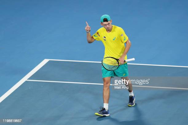 Alex de Minaur of Australia celebrates winning a point during his semifinal singles match against Rafael Nadal of Spain during day nine of the 2020...