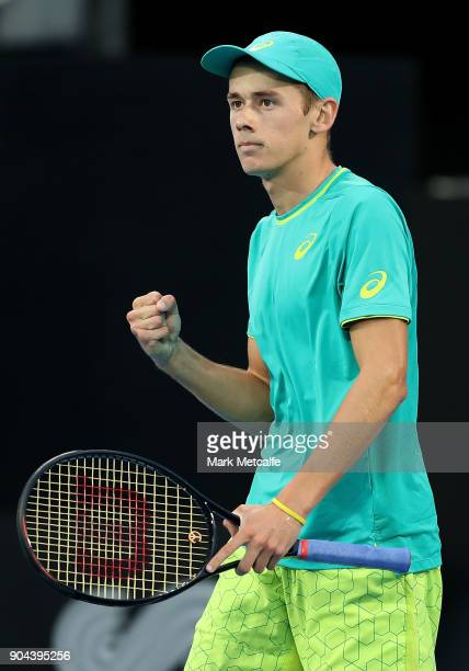 Alex de Minaur of Australia celebrates winning a point in his Men's Singles Final match against Daniil Medvedev of Russia during day seven of the...