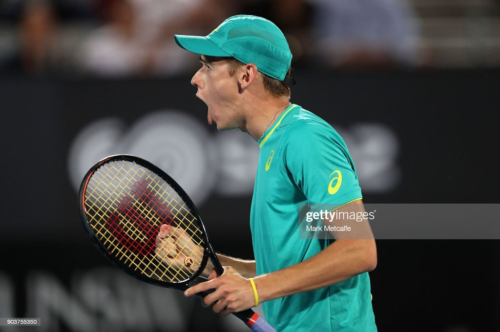 Alex de Minaur of Australia celebrates winning a point in his quarter final match against Feliciano Lopez of Spain during day five of the 2018 Sydney International at Sydney Olympic Park Tennis Centre on January 11, 2018 in Sydney, Australia.