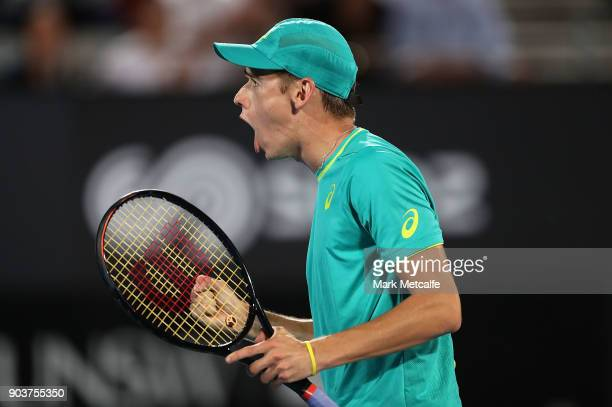 Alex de Minaur of Australia celebrates winning a point in his quarter final match against Feliciano Lopez of Spain during day five of the 2018 Sydney...