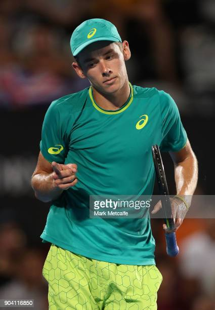 Alex de Minaur of Australia celebrates winning a point in his semi final match against Benoit Paire of France during day six of the 2018 Sydney...