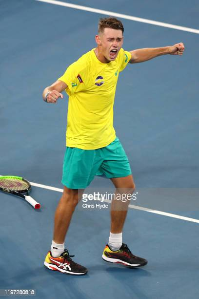 Alex de Minaur of Australia celebrates winning his match against Alexander Zverev of Germany during day one of the 2020 ATP Cup Group Stage at Pat...