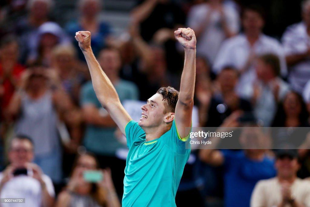 Alex De Minaur of Australia celebrates winning his match against Milos Raonic of Canada during day four of the 2018 Brisbane International at Pat Rafter Arena on January 3, 2018 in Brisbane, Australia.