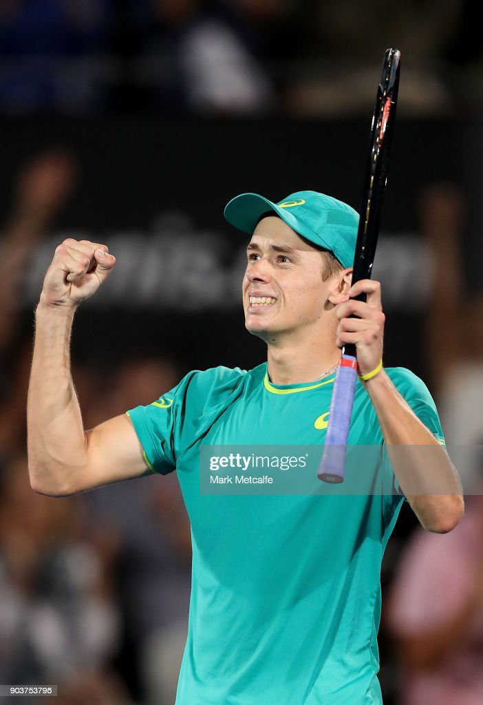 Alex de Minaur of Australia celebrates winning match point in his quarter final match against Feliciano Lopez of Spain during day five of the 2018 Sydney International at Sydney Olympic Park Tennis Centre on January 11, 2018 in Sydney, Australia.