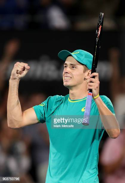 Alex de Minaur of Australia celebrates winning match point in his quarter final match against Feliciano Lopez of Spain during day five of the 2018...