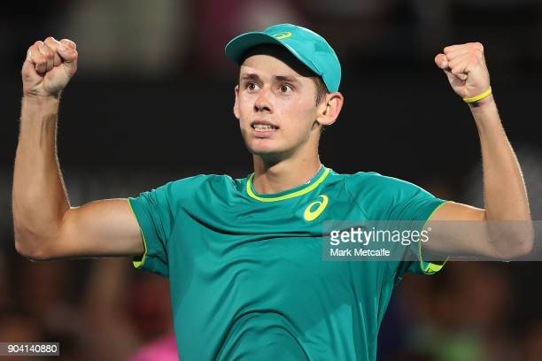 Alex de Minaur of Australia celebrates winning match point in his semi final match against Benoit Paire of France during day six of the 2018 Sydney...