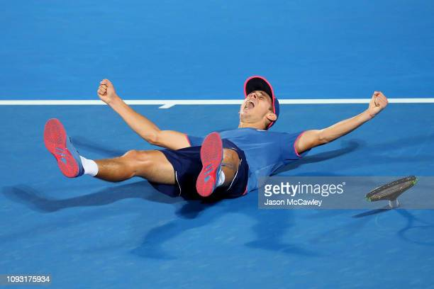 Alex De Minaur of Australia celebrates winning the Mens Singles Final against Andreas Seppi of Italy during day seven of the 2019 Sydney...