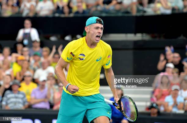 Alex de Minaur of Australia celebrates winning the second set in his match against Denis Shapovalov of Canada during day three of the 2020 ATP Cup...