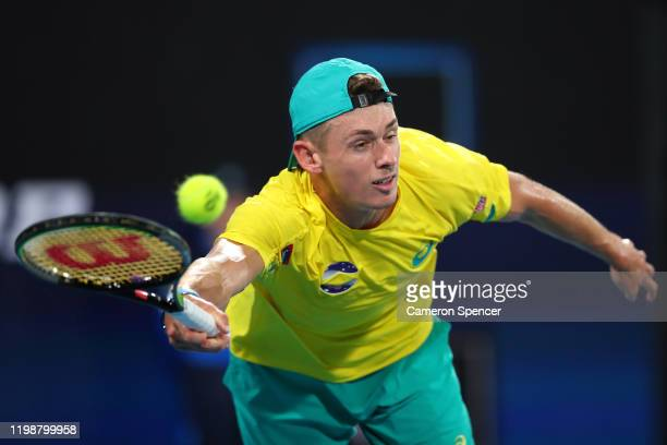Alex de Minaur of Australia competes to play a forehand during his semifinal singles match against Rafael Nadal of Spain on day nine of the 2020 ATP...
