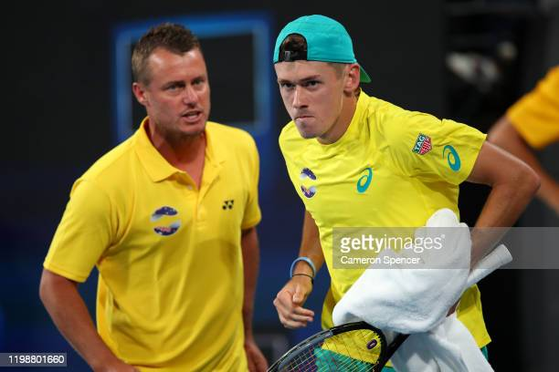 Alex de Minaur of Australia during his semifinal singles match against Rafael Nadal of Spain on day nine of the 2020 ATP Cup at Ken Rosewall Arena on...
