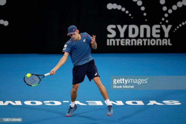 Alex De Minaur of Australia hots a forehand during day five of the 2019 Sydney International at the Sydney Olympic Tennis Centre on January 10 2019...