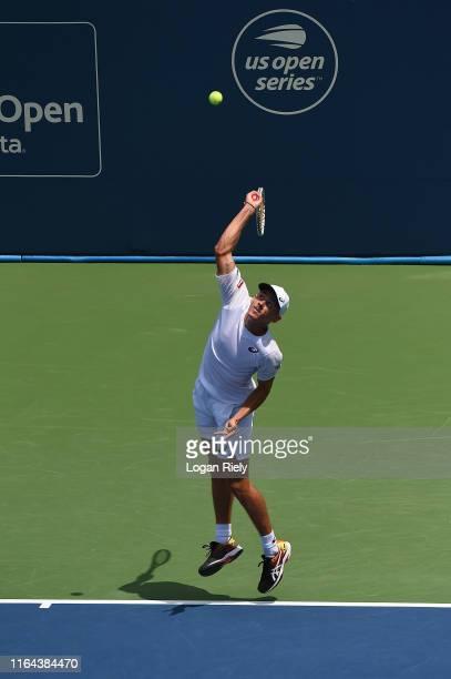 Alex De Minaur of Australia in a match against Bernard Tomic of Australia during the BB&T Atlanta Open at Atlantic Station on July 26, 2019 in...