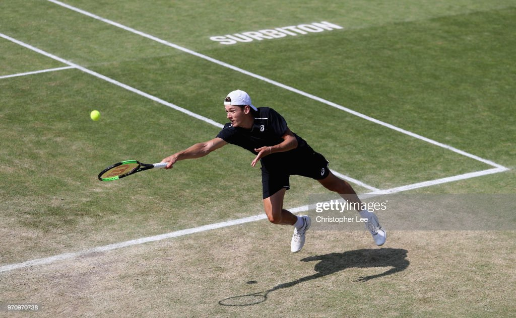 Alex De Minaur of Australia in action against Jeremy Chardy of France during their Mens Final match on Day 09 of the Fuzion 100 Surbition Trophy on June 10, 2018 in London, United Kingdom.