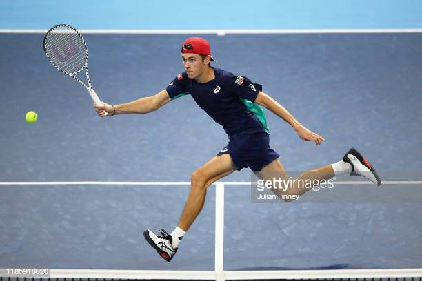 Alex de Minaur of Australia in action against Miomir Kecmanovic of Serbia during Day Two of the Next Gen ATP Finals at Allianz Cloud on November 06,...