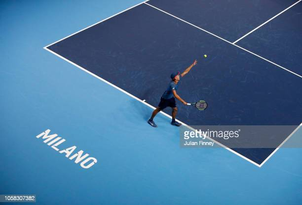 Alex de Minaur of Australia in action in his match against Liam Caruana of Italy in the group stages during Day One of the Next Gen ATP Finals at...
