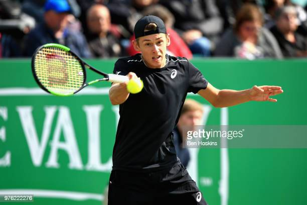 Alex de Minaur of Australia in action in the Mens Singles Semi Final during Day Eight of the Nature Valley Open at Nottingham Tennis Centre on June...