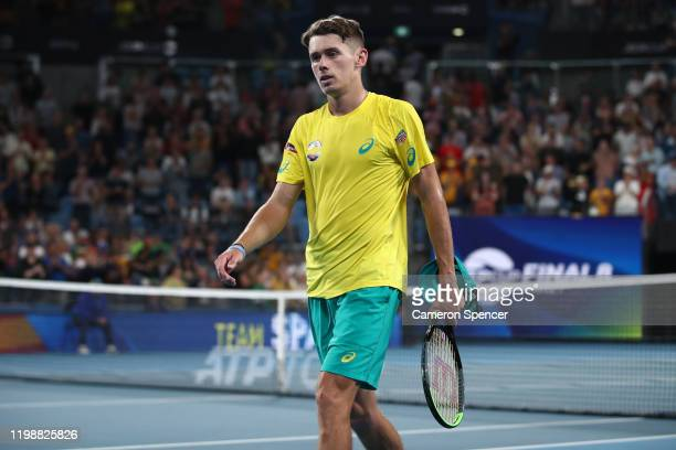 Alex de Minaur of Australia looks on after being defeated in his semifinal singles match against Rafael Nadal of Spain on day nine of the 2020 ATP...
