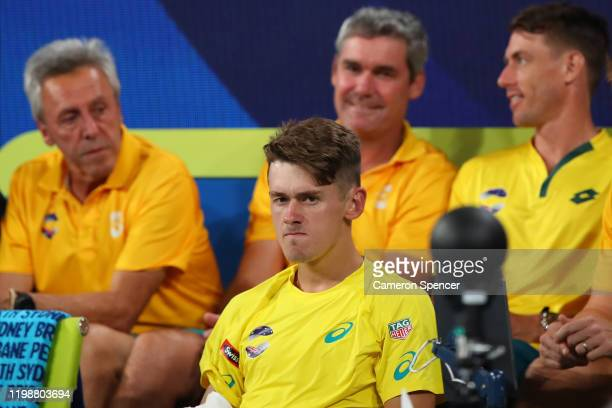 Alex de Minaur of Australia looks on during his semifinal singles match against Rafael Nadal of Spain on day nine of the 2020 ATP Cup at Ken Rosewall...