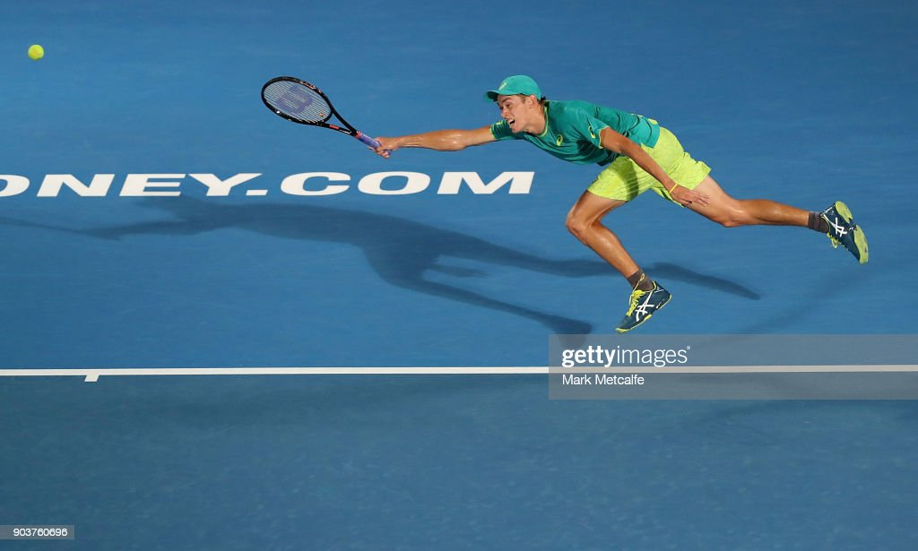 Alex de Minaur of Australia lunges for a forehand in his quarter final match against Feliciano Lopez of Spain during day five of the 2018 Sydney International at Sydney Olympic Park Tennis Centre on January 11, 2018 in Sydney, Australia.