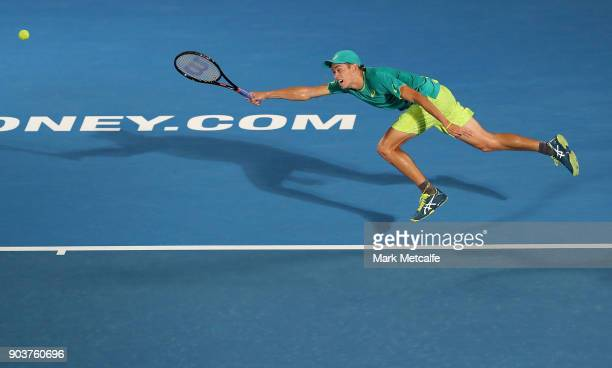 Alex de Minaur of Australia lunges for a forehand in his quarter final match against Feliciano Lopez of Spain during day five of the 2018 Sydney...