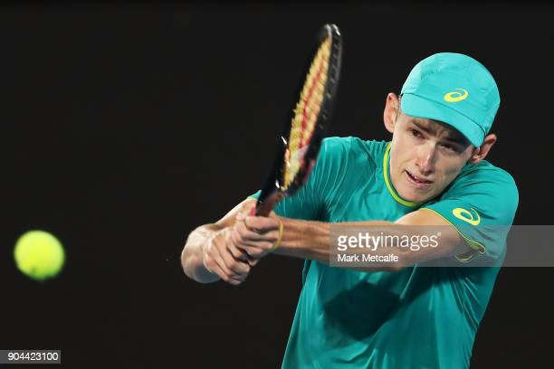 Alex de Minaur of Australia plays a backhand in his Men's Singles Final match against Daniil Medvedev of Russia during day seven of the 2018 Sydney...