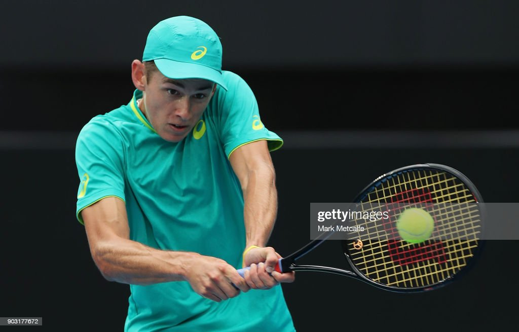 Alex de Minaur of Australia plays a backhand in his second round match against Damir Dzumhur of Bosnia and Herzegovinia during day four of the 2018 Sydney International at Sydney Olympic Park Tennis Centre on January 10, 2018 in Sydney, Australia.