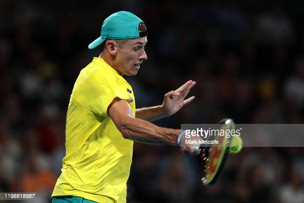 Alex de Minaur of Australia plays a forehand during his semifinal singles match against Rafael Nadal of Spain during day nine of the 2020 ATP Cup at...